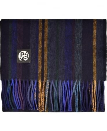 PS By Paul Smith Blue  & Grey 'College Stripe' Scarf