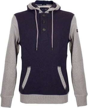 Armani Blue & Grey Contrast Sleeve Hooded Sweatshirt