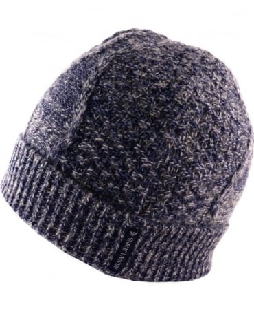 Armani Blue & Grey 'Fantasia' B6420V1 Knitted Hat