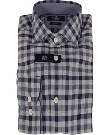 Hackett Blue/Grey Melange Gingham Shirt