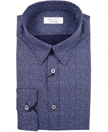 Nigel Hall Blue Grey Puddifant Floral Print Shirt