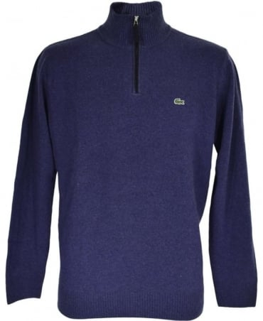 Lacoste Blue Half Zip Turtle Neck AH2988 Jumper