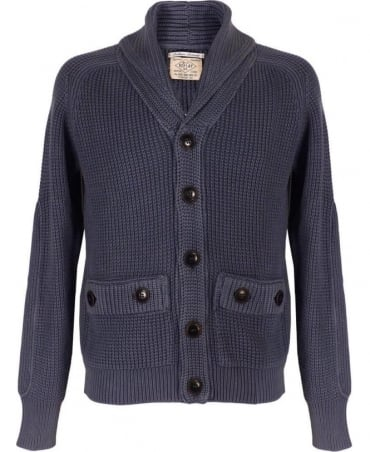 Replay Blue Heavy Knit Shawl Collar Cardigan G21280G