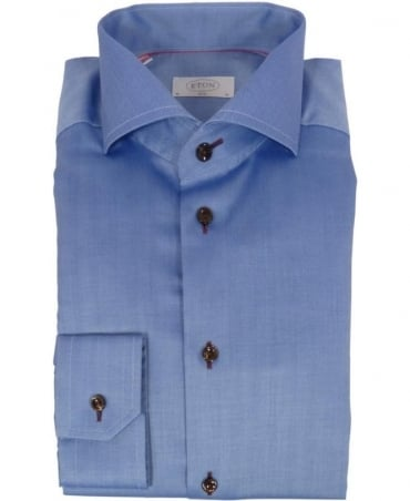 Eton Shirts Blue Herringbone Cambridge Slim Fit Shirt