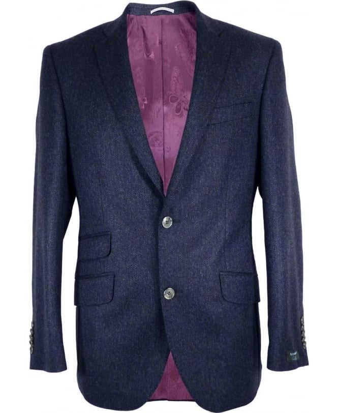 Gerard Connolly Blue Herringbone Richard Single Vent Jacket