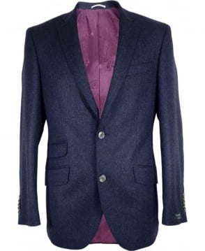 Gerard Connolly Blue Herringbone Richard Single Vent Jacket