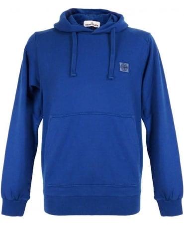 Stone Island Blue Hooded Drawstring Sweatshirt