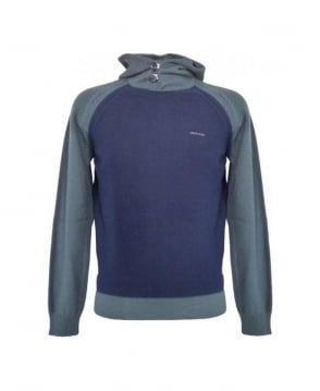 Armani Blue Hooded Sim Fit Jumper