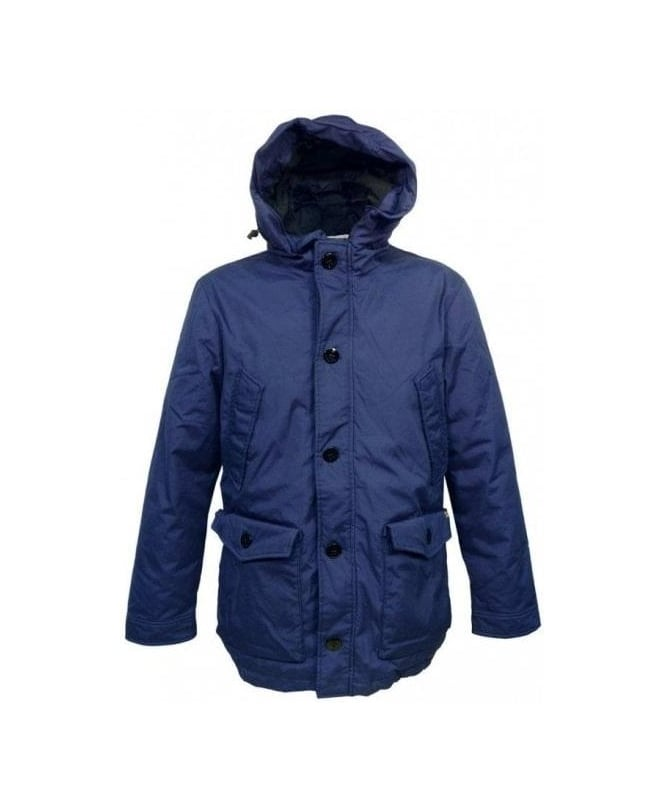 Scotch & Soda Blue Hooded Zip & Button Parka