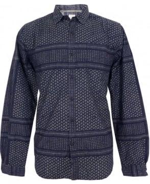 Replay Blue Indigo Dyed Patterned M4891 Long Sleeve Shirt