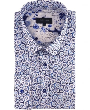 1 ...Like No Other Blue Japanese Floral Print 2954S Nikko Shirt