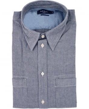 Paul Smith  Blue JMFJ/844N/628 Duel Chest Pocket Classic Fit Shirt