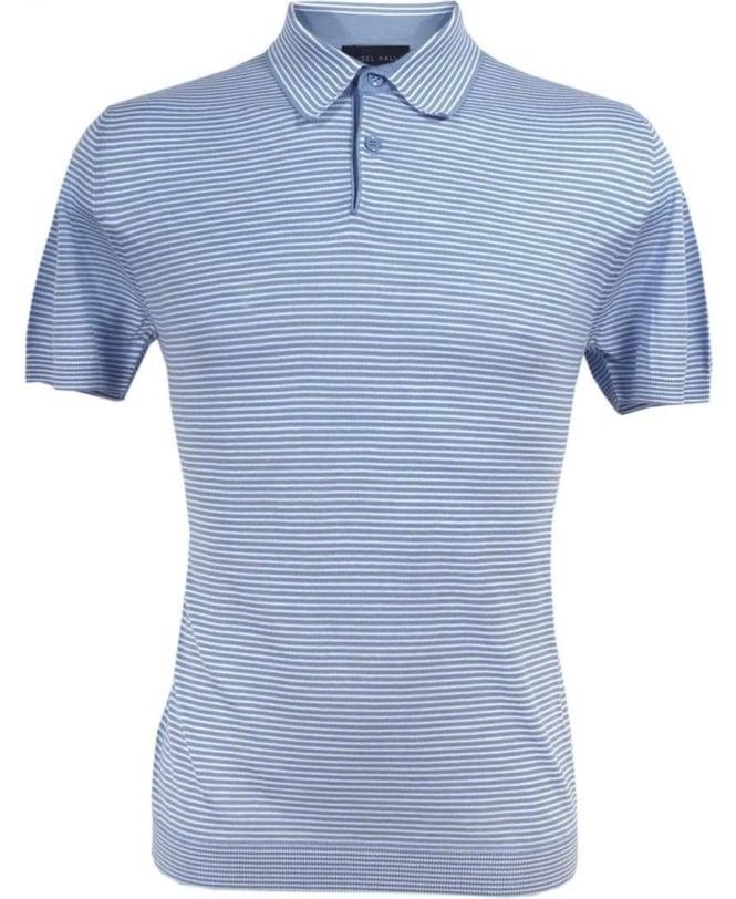 Nigel Hall Blue Joel Stripe Cotton Polo
