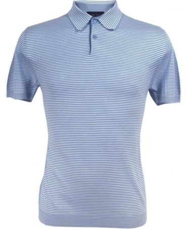 Nigel Hall Blue Joel Stripe Cotton Polo