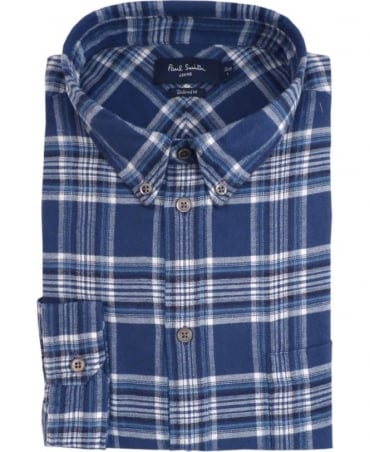 Paul Smith - Jeans Blue JPFJ-633P-D42 Brushed Cotton Plaid Shirt