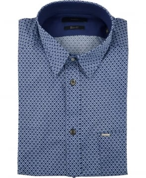 Diesel Blue Leppa Allover Pattern Short Sleeve Shirt