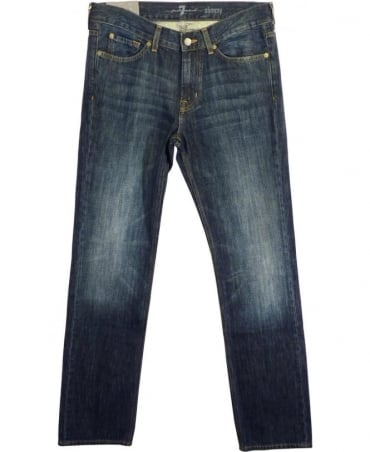 7 For All Mankind Blue Light Dsitress Slimmy Jeans
