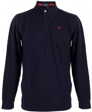 Hackett Blue Logo Longsleeve Polo
