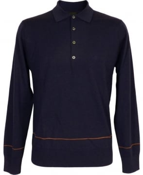 Paul Smith  Blue Longsleeve Polo Knitwear