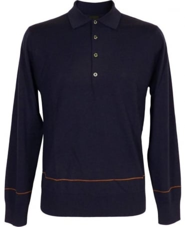Paul Smith - PS Blue Longsleeve Polo Knitwear