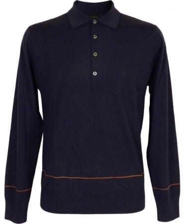 Paul Smith - PS Blue Longsleeve Polo Knitwear