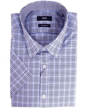 Hugo Boss Blue Luca 4 50283807 Short Sleeve Check Shirt