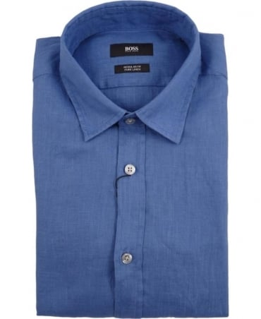 Hugo Boss Blue Lukas 50304359 Linen Shirt