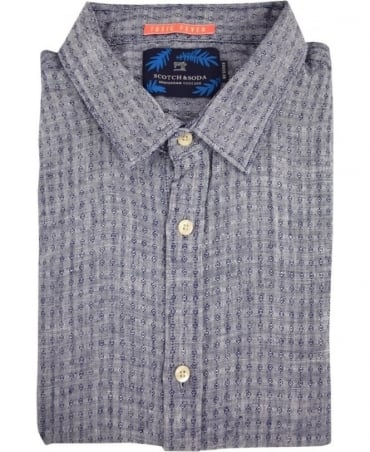 Scotch & Soda Blue Melange Structured Linen Shirt