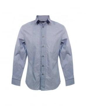 Paul Smith  Blue Micro Houndstooth Contrast Placket Shirt