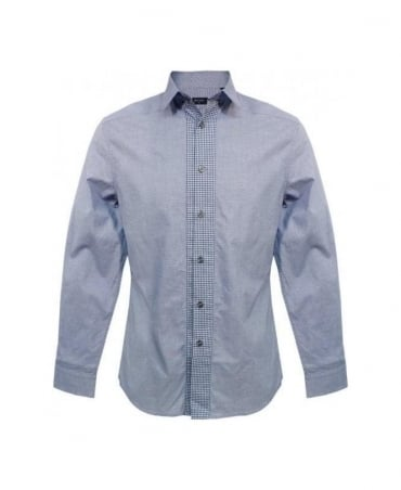 Paul Smith - PS Blue Micro Houndstooth Contrast Placket Shirt
