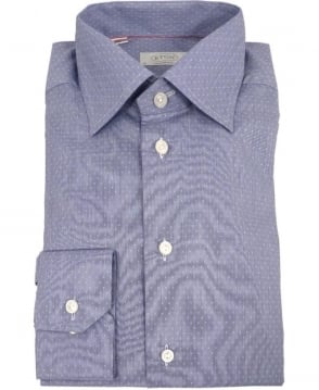 Eton Shirts Blue Micro-Pattern Poplin 24677931127 Shirt