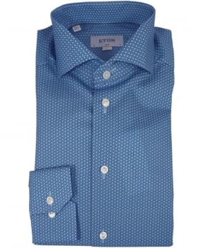Eton Shirts Blue Micro Print Slim Fit Shirt