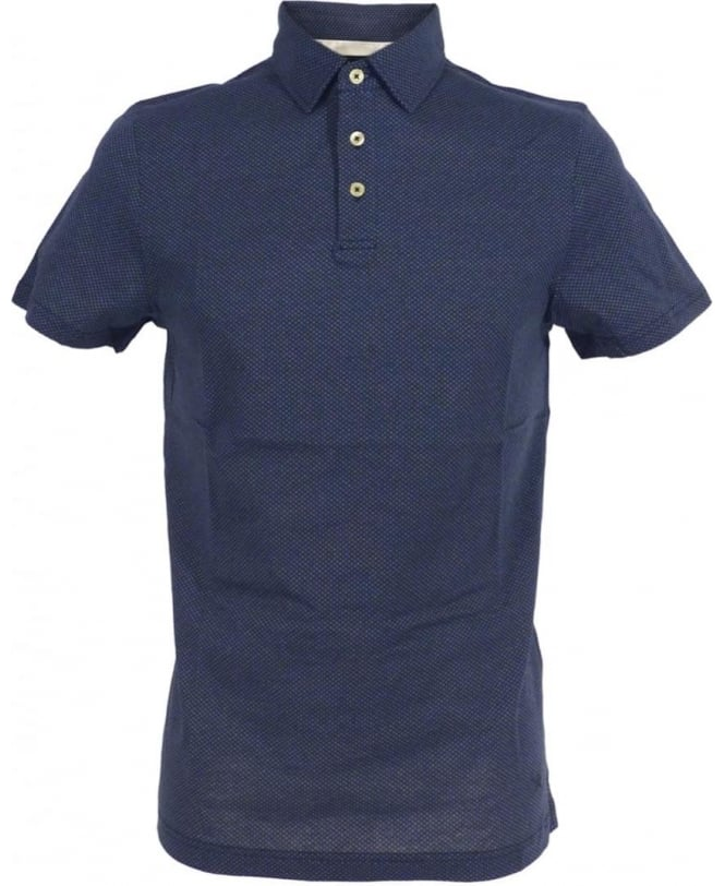 Hackett Blue Minute Dot Print HM561520 Polo shirt