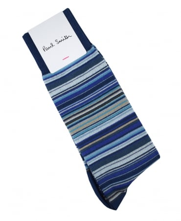 Paul Smith  Blue Multi Stripe New COAM/380A/F599C Socks