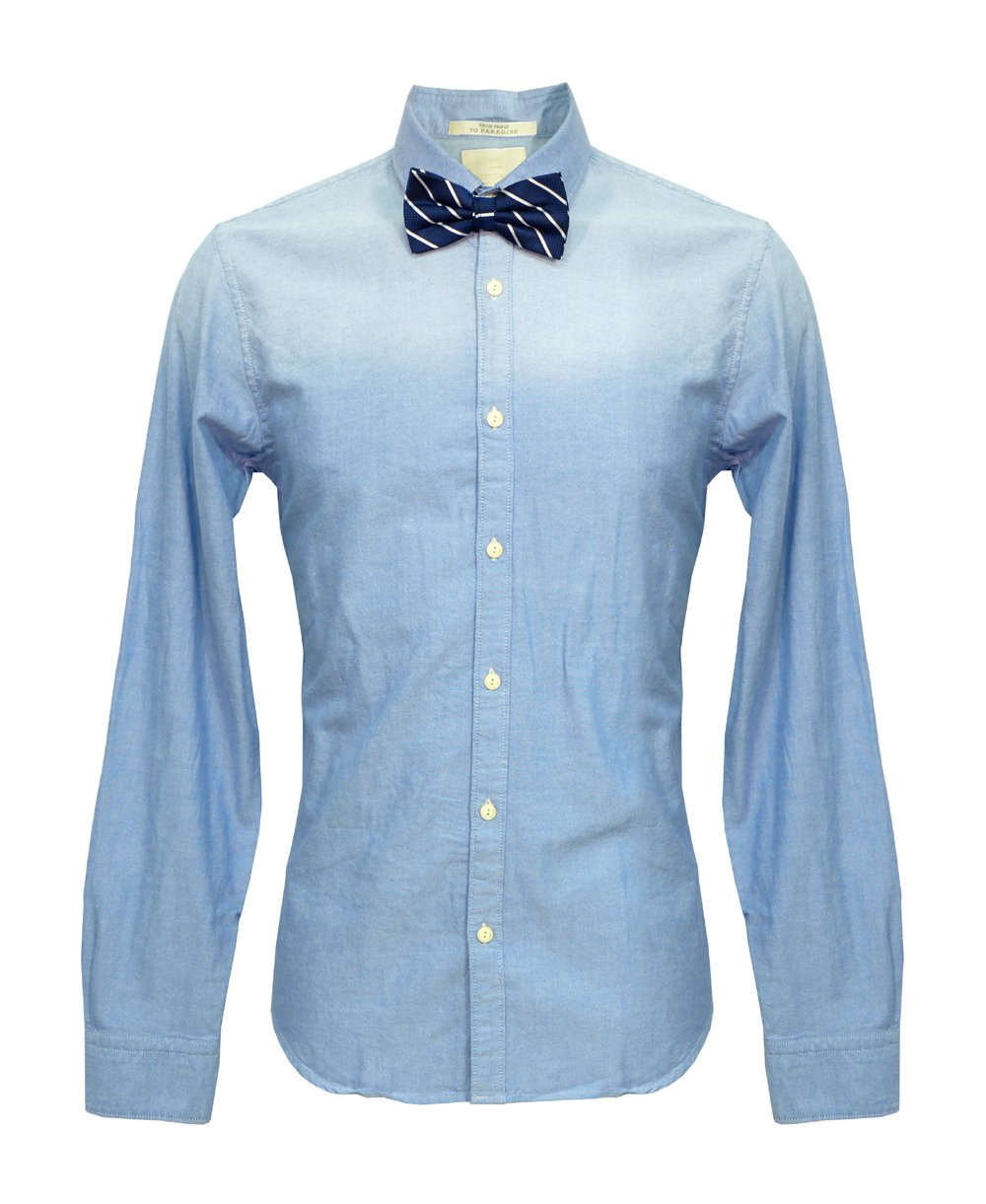 Scotch soda blue navy stripe bow tie 20002 shirt for Blue striped shirt with tie