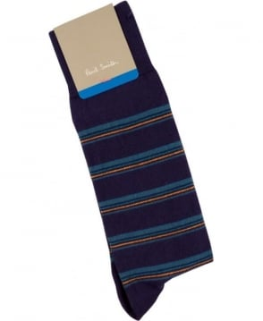Paul Smith - Accessories Blue Neon Stripe APXX/380A/K144 socks