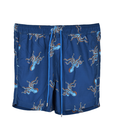Blue Octopus Print Swimshorts