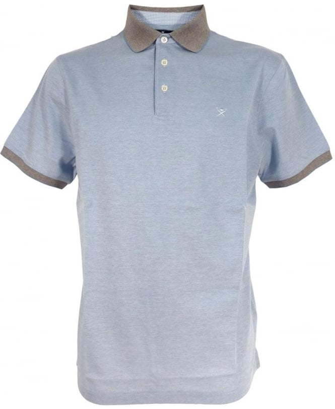 Hackett Blue Oxford Pique Polo