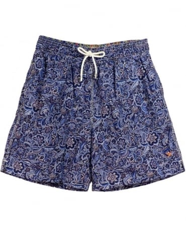 Hackett Blue Paisley Volley Swim Shorts