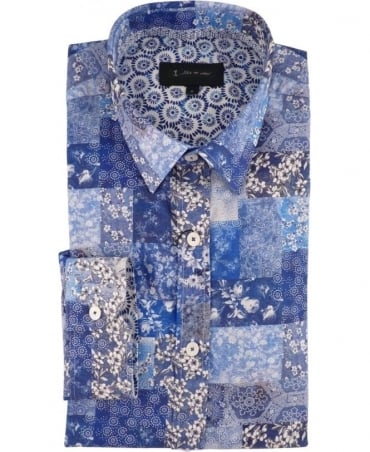 1 ...Like No Other Blue Patchwork Print 2951S Tanaka Shirt