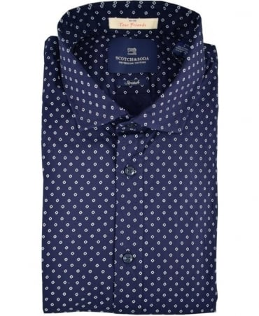 Scotch & Soda Blue Pattern 101423 Stretch Shirt