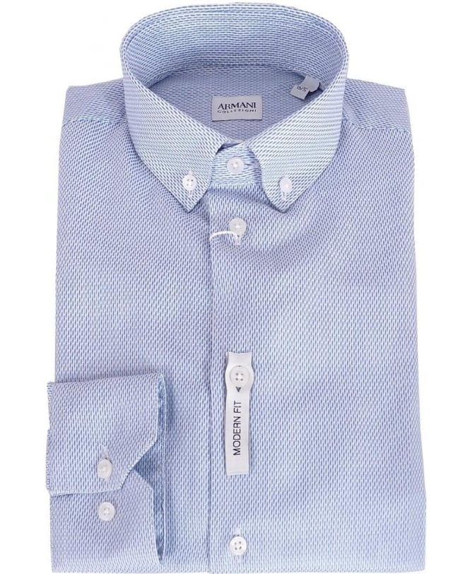 Chams Classic Fit Blue White Striped Combed Cotton Contrast Collar Dress Shirt