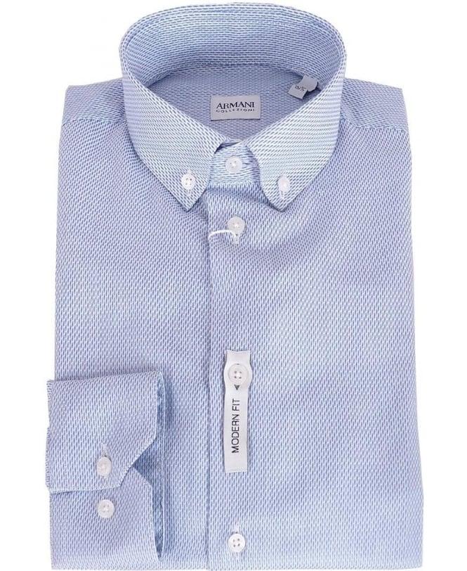 Armani Collezioni Blue Pattern Button Down Collar Shirt