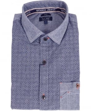 Armani Blue Patterned Denim Shirt
