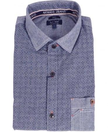 Armani Blue Patterned Denim Shirt