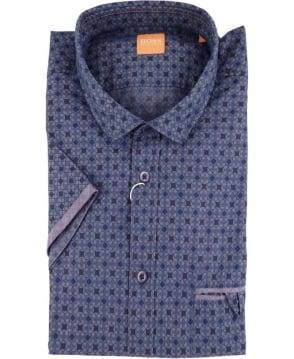 Hugo Boss Blue Patterned 'EsushiE' Short Sleeve Shirt