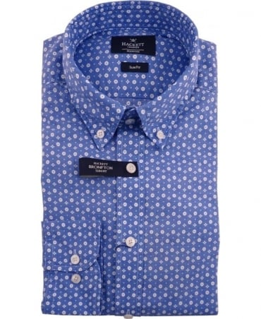 Hackett Blue Patterned HM304602 Slim Fit Shirt