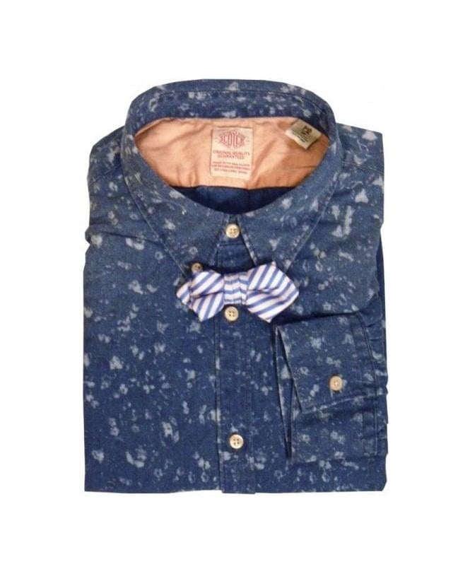 Scotch & Soda Blue Patterned Shirt with Clip on Bow Tie