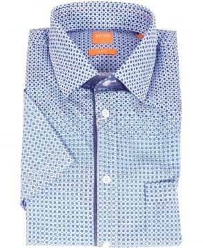 Hugo Boss Blue Patterned Slim Fit Short Sleeve Shirt
