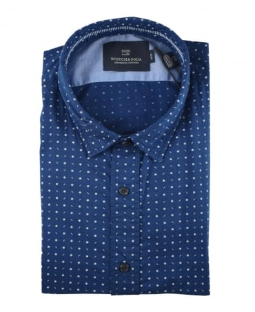Scotch & Soda Blue Polka Dot 139555 Shirt
